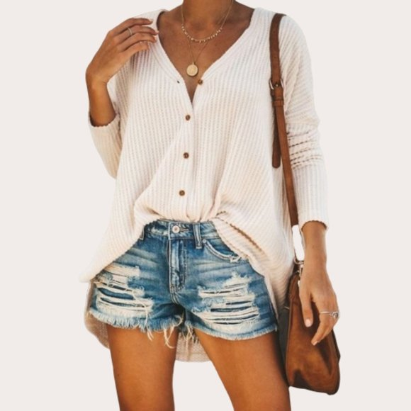 Let It Loose Top - Waffle Knit V Neck Long Sleeve